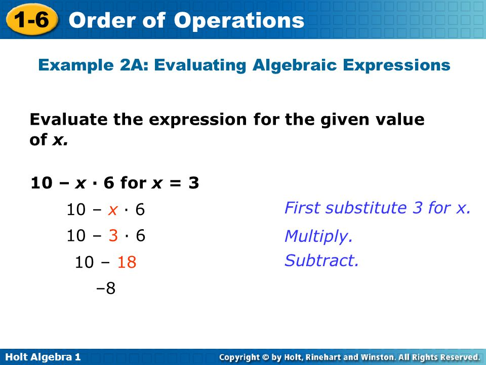 Example 2A: Evaluating Algebraic Expressions