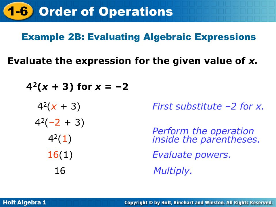 Example 2B: Evaluating Algebraic Expressions