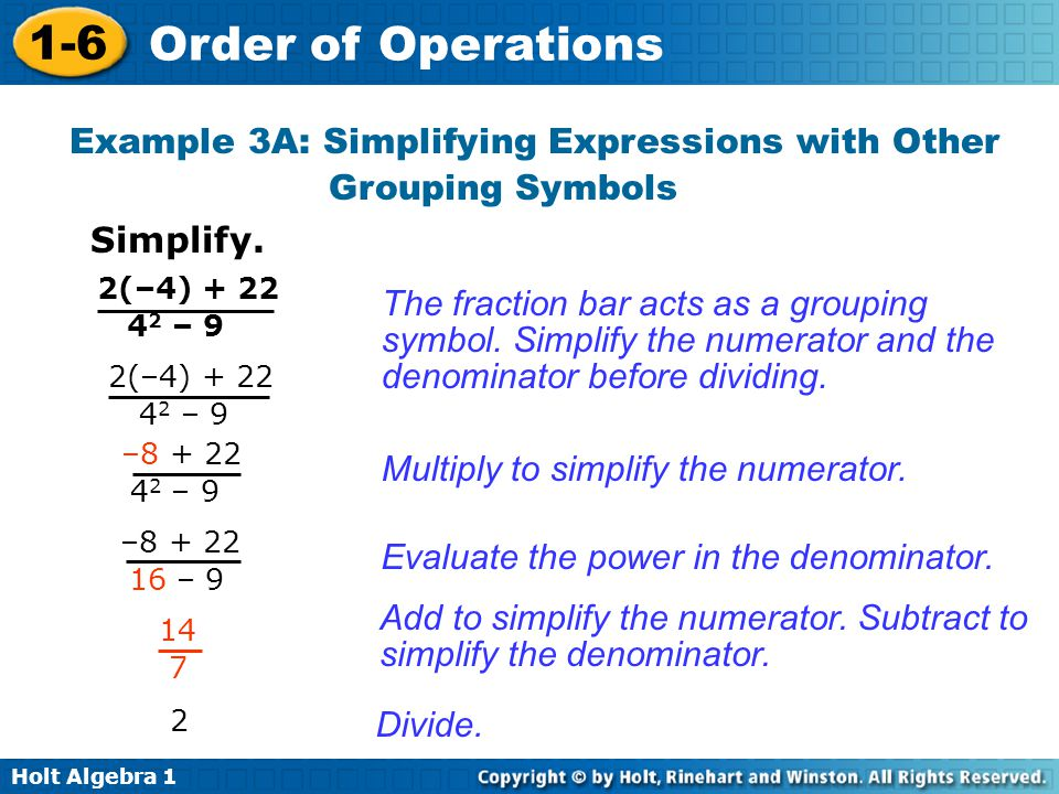 Example 3A: Simplifying Expressions with Other Grouping Symbols