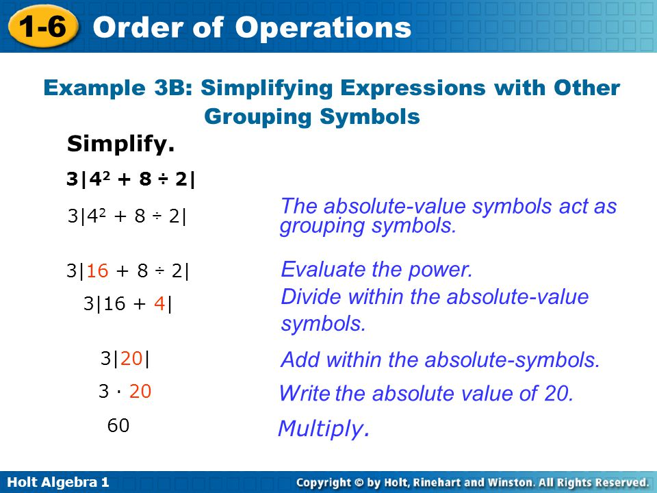 Example 3B: Simplifying Expressions with Other Grouping Symbols