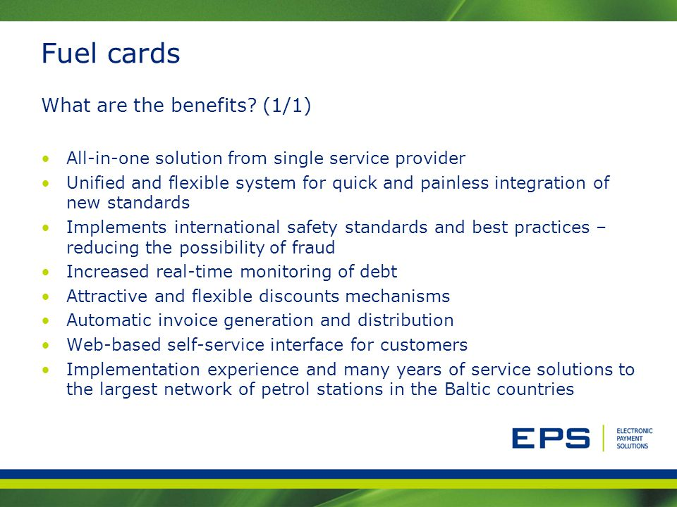 Fuel cards What are the benefits (1/1)