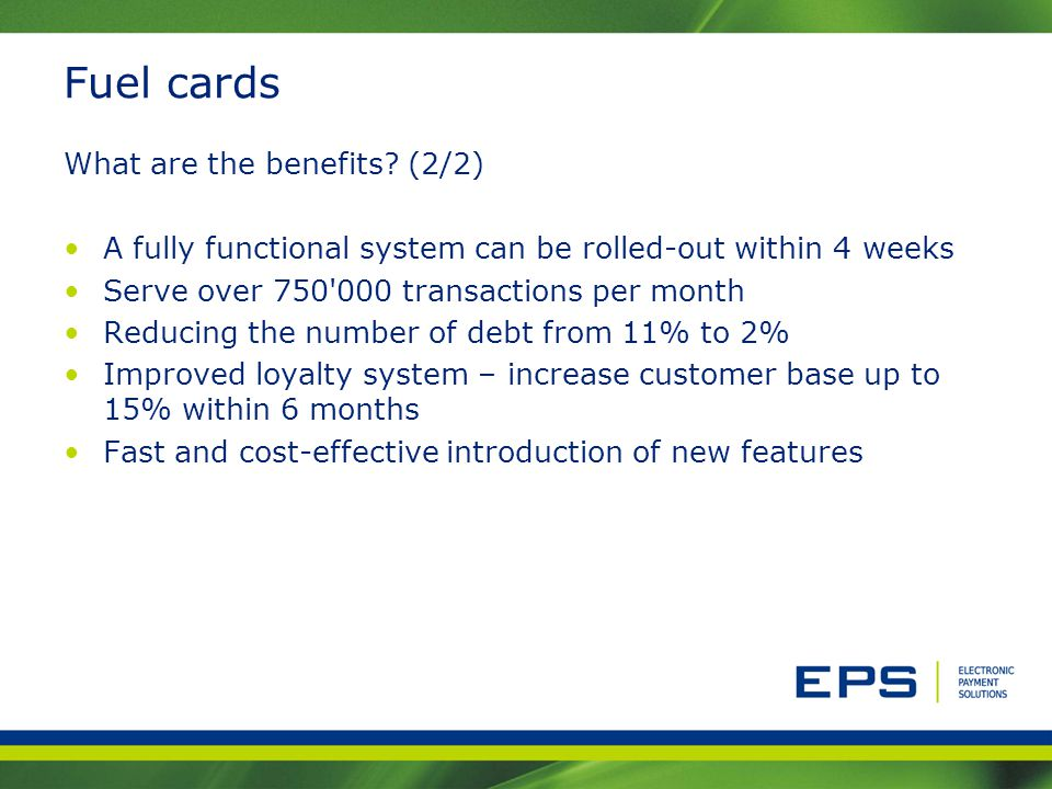 Fuel cards What are the benefits (2/2)