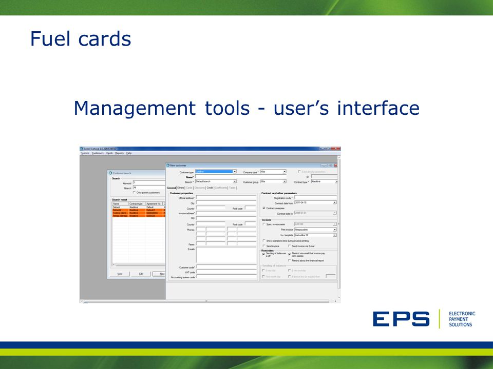 Management tools - user's interface