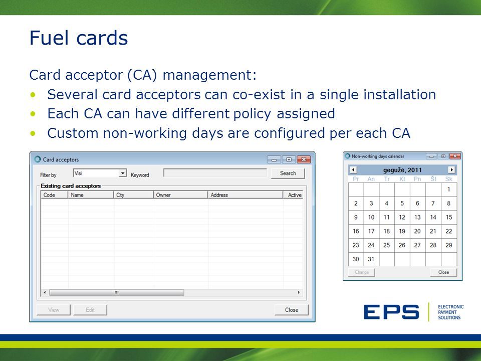 Fuel cards Card acceptor (CA) management: