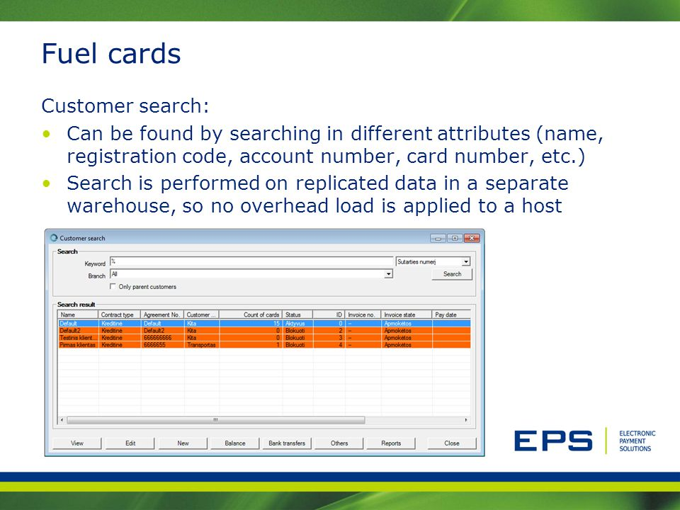 Fuel cards Customer search: