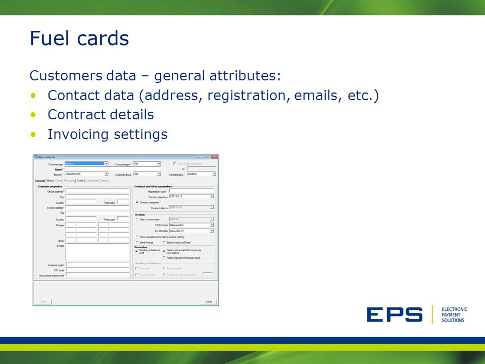Fuel cards Customers data – general attributes: