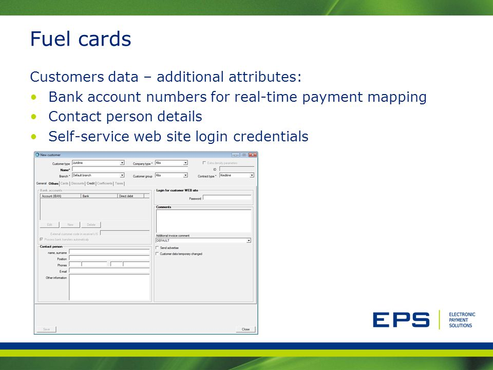 Fuel cards Customers data – additional attributes: