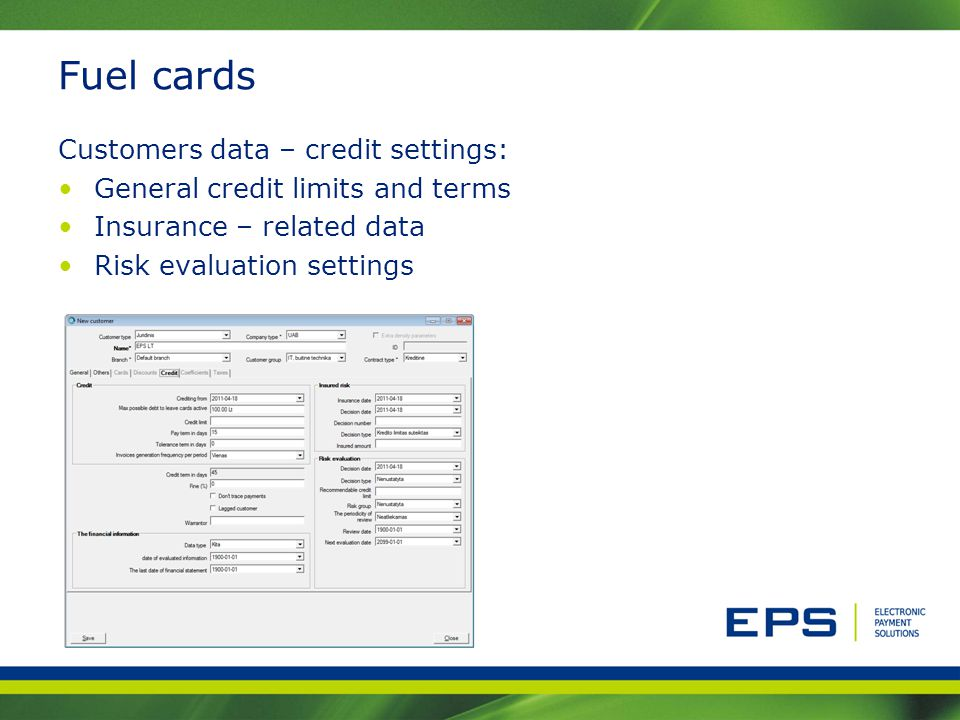 Fuel cards Customers data – credit settings: