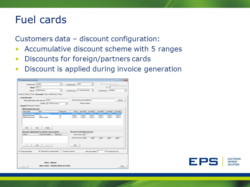 Fuel cards Customers data – discount configuration: