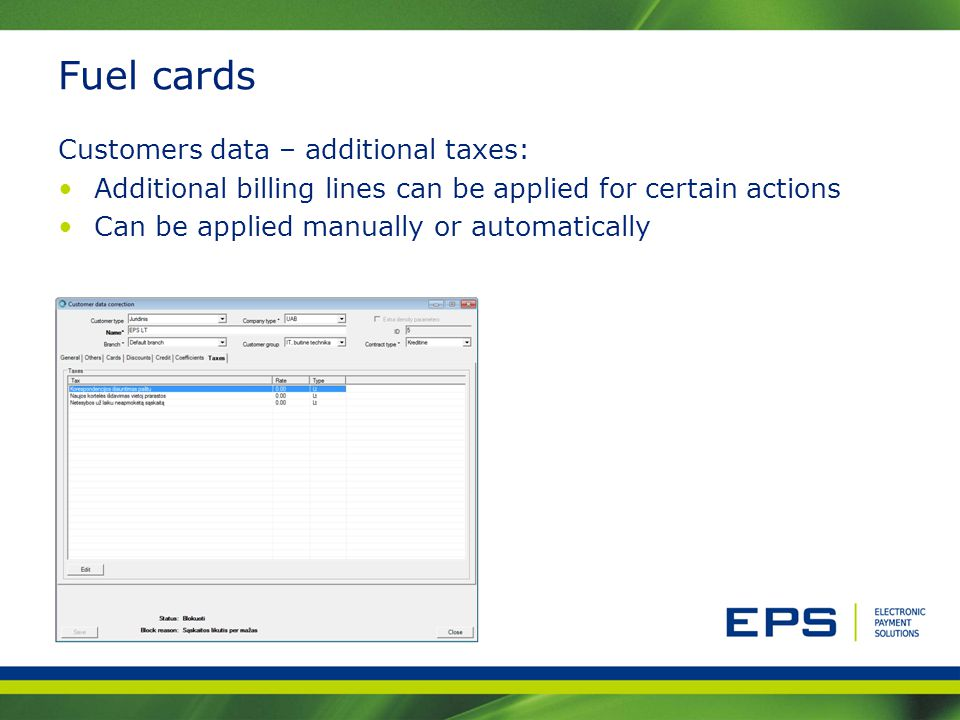 Fuel cards Customers data – additional taxes: