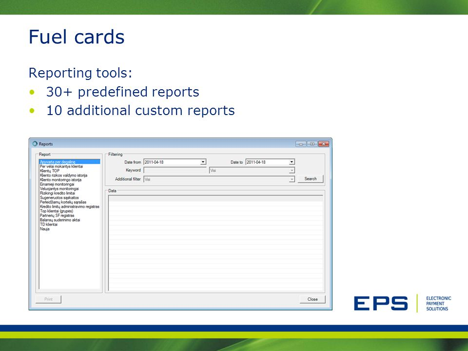 Fuel cards Reporting tools: 30+ predefined reports