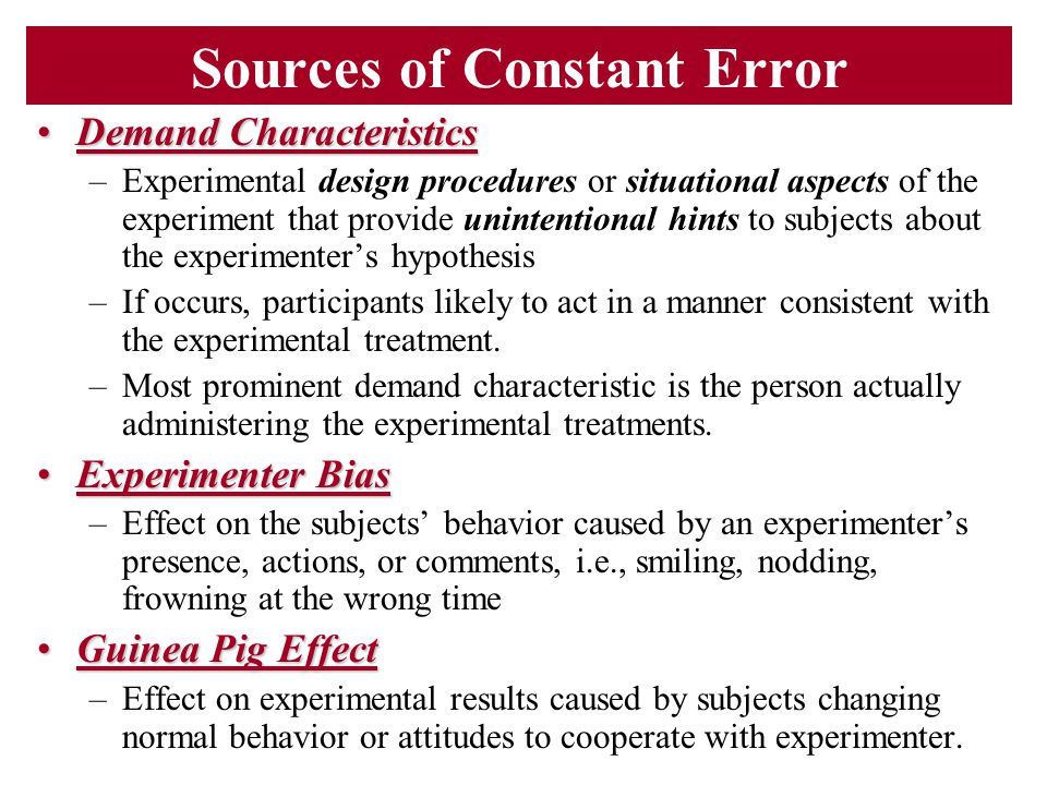 Sources of Constant Error