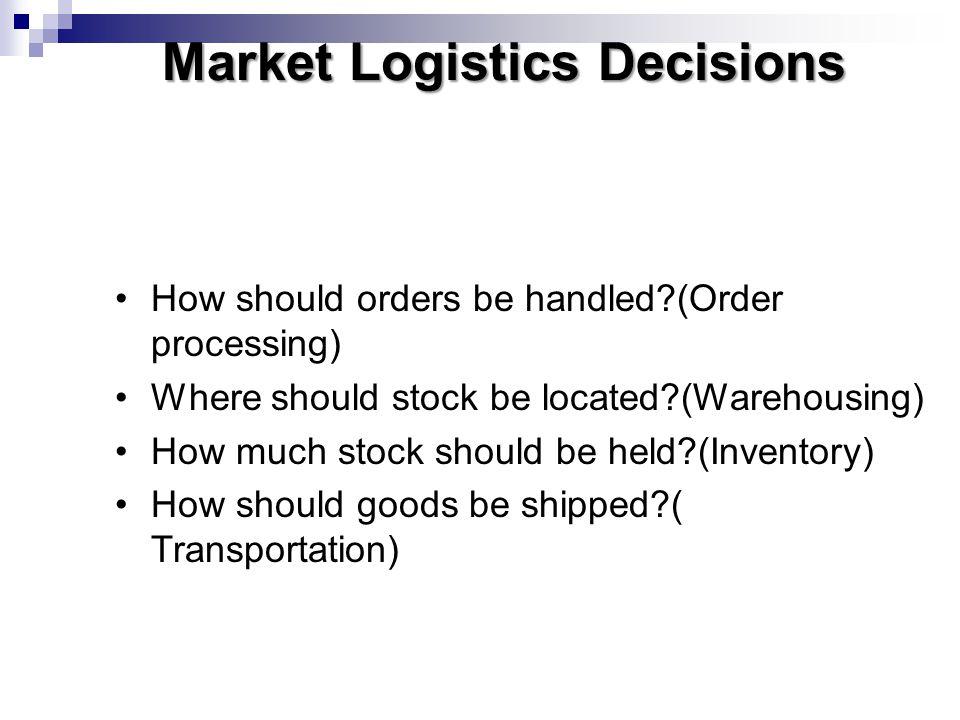Market Logistics Decisions