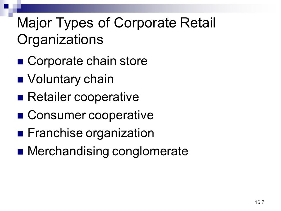 Major Types of Corporate Retail Organizations