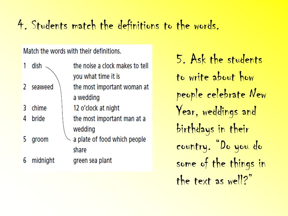 4. Students match the definitions to the words.