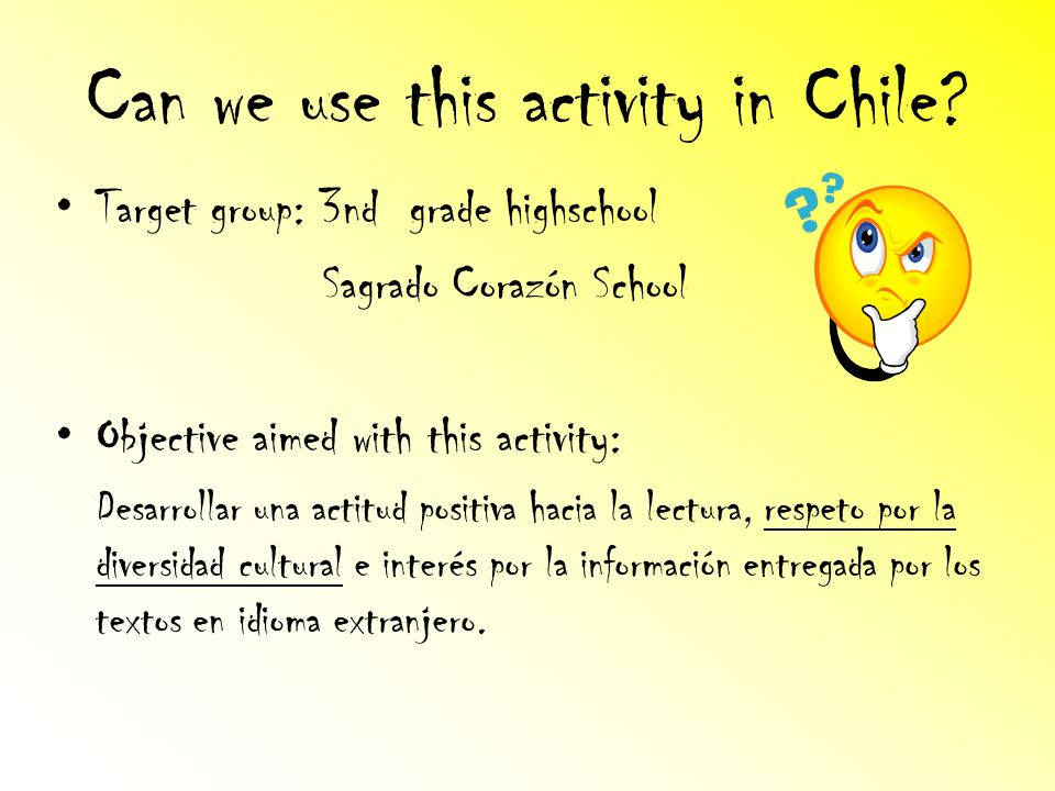Can we use this activity in Chile