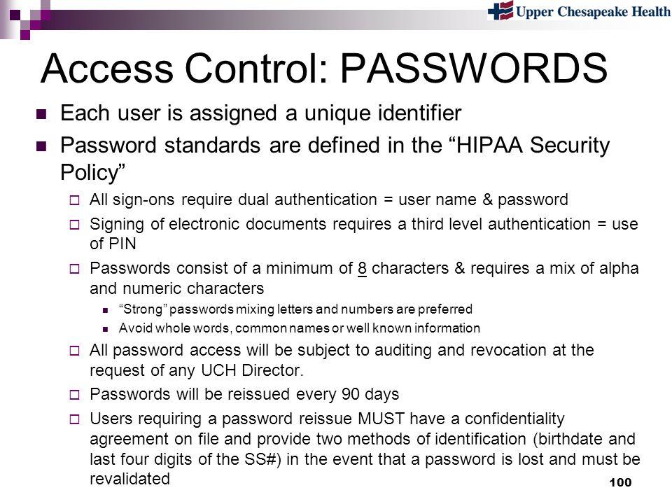 Access Control: PASSWORDS