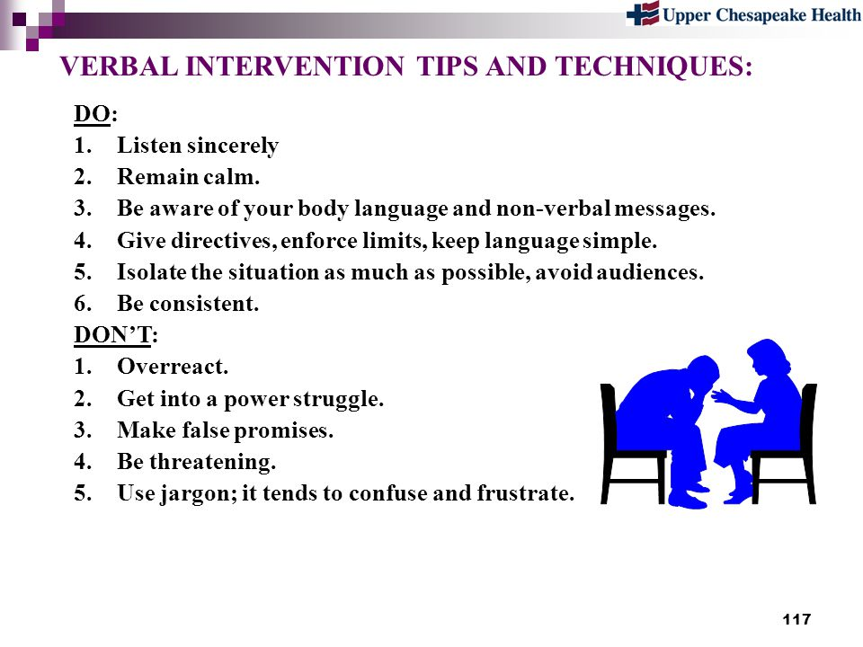 VERBAL INTERVENTION TIPS AND TECHNIQUES: