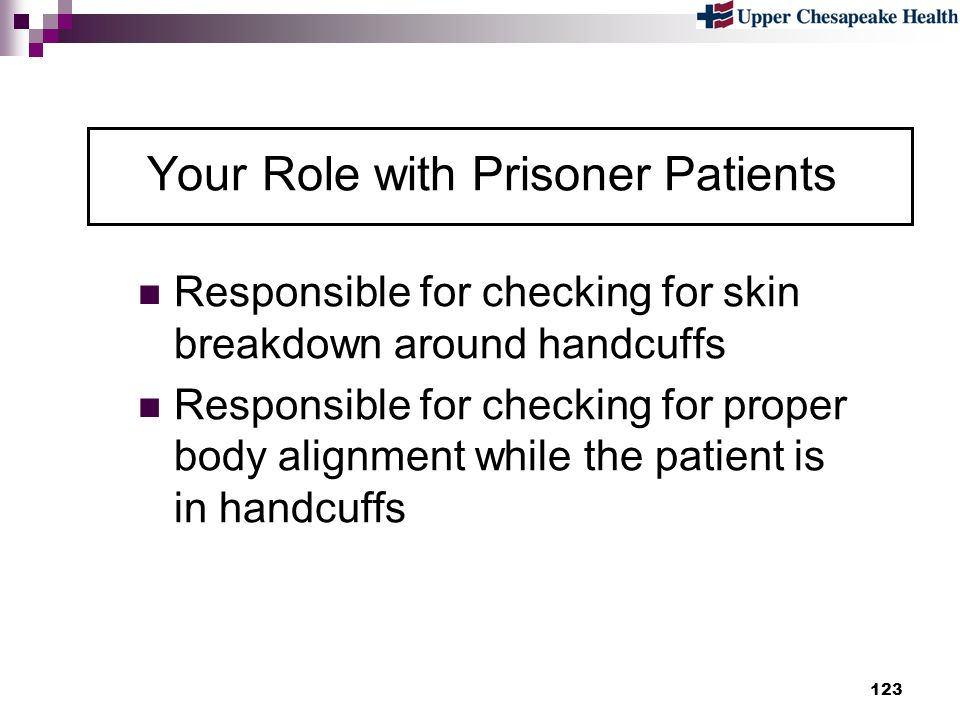 Your Role with Prisoner Patients