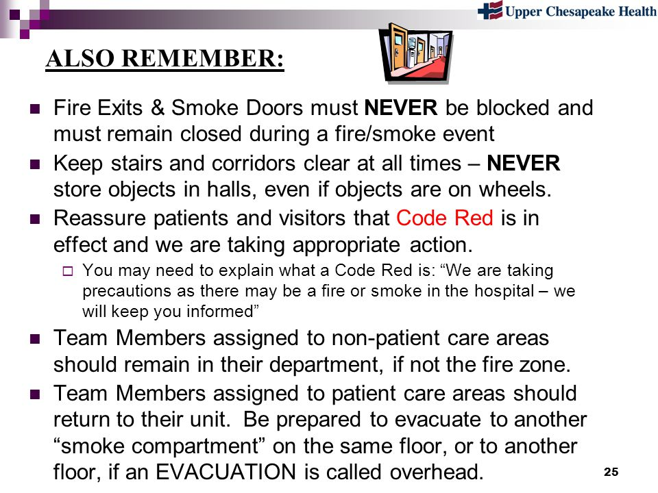 ALSO REMEMBER: Fire Exits & Smoke Doors must NEVER be blocked and must remain closed during a fire/smoke event.