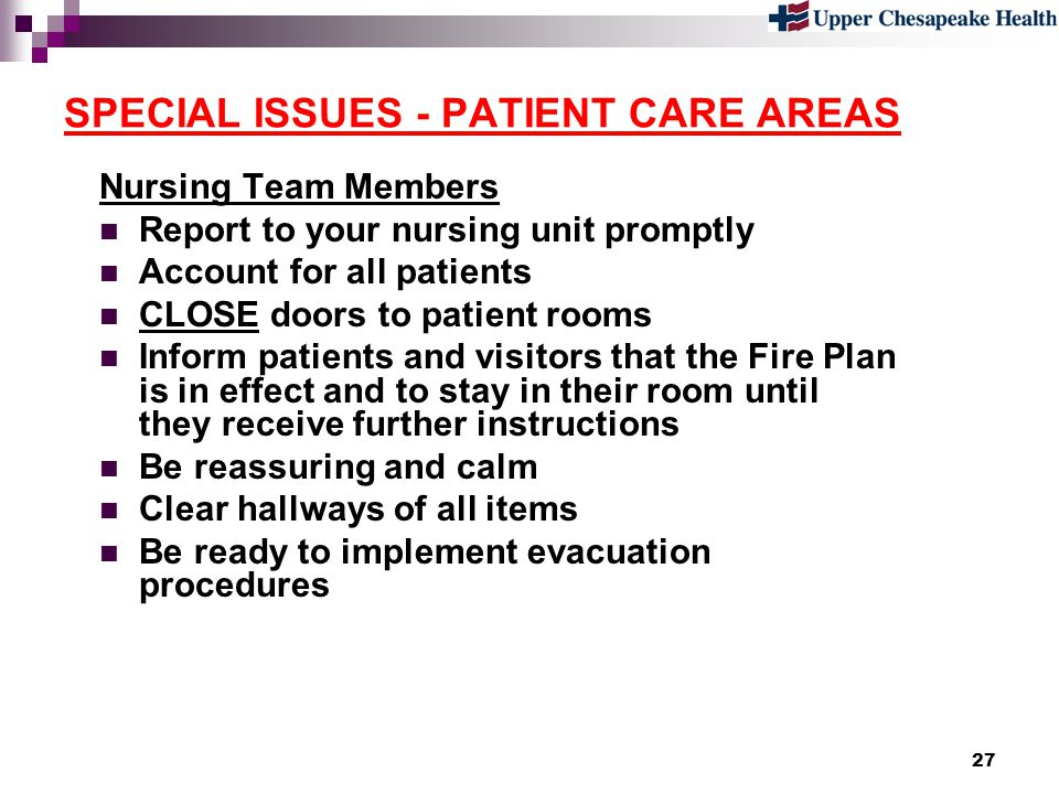 SPECIAL ISSUES - PATIENT CARE AREAS