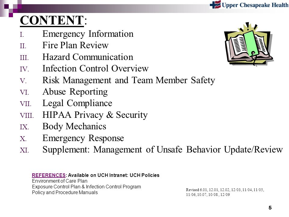 CONTENT: Emergency Information Fire Plan Review Hazard Communication