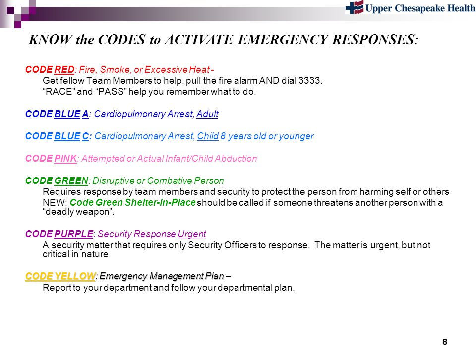 KNOW the CODES to ACTIVATE EMERGENCY RESPONSES: