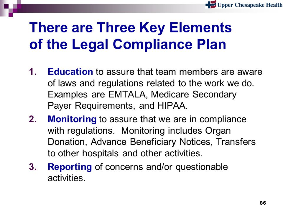 There are Three Key Elements of the Legal Compliance Plan