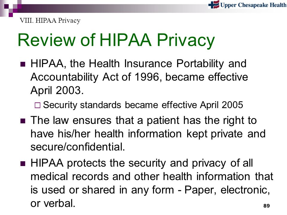 Review of HIPAA Privacy