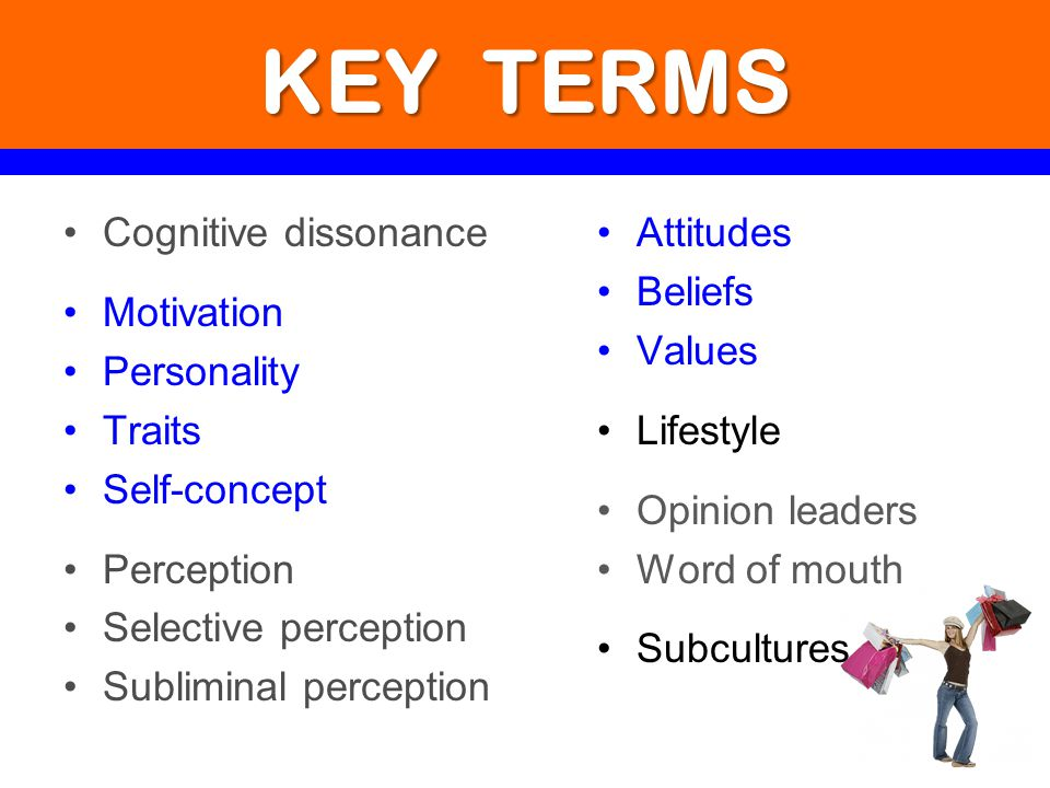 KEY TERMS Cognitive dissonance Motivation Personality Traits