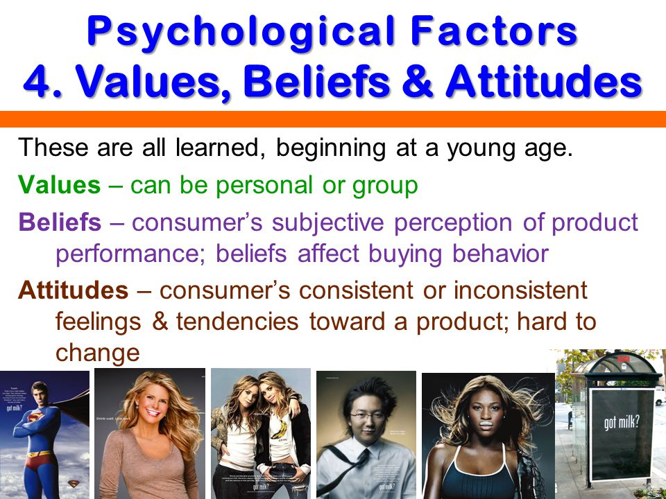 Psychological Factors 4. Values, Beliefs & Attitudes