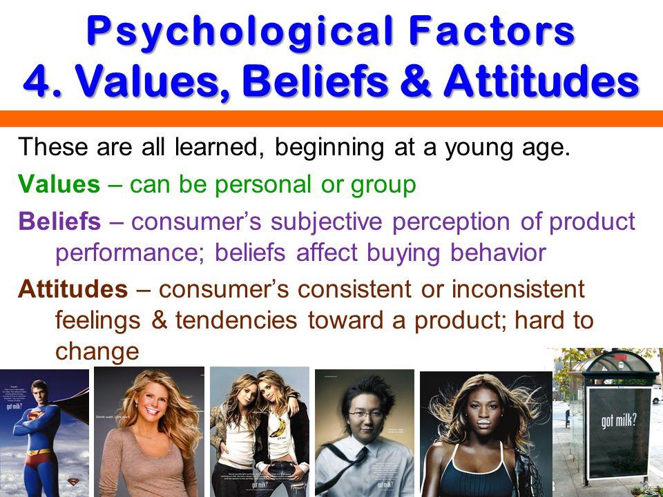 Psychological Factors 4. Values, Beliefs & Attitudes