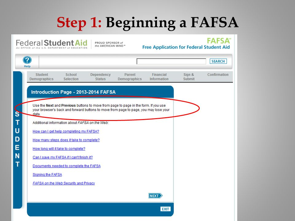 Step 1: Beginning a FAFSA