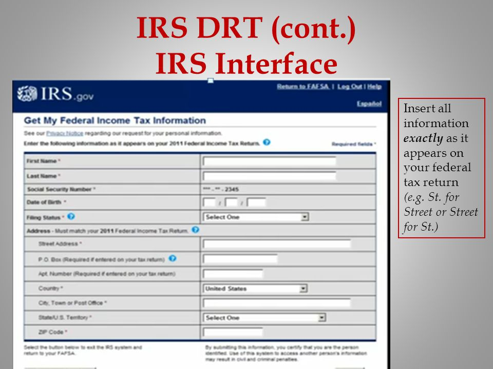 IRS DRT (cont.) IRS Interface