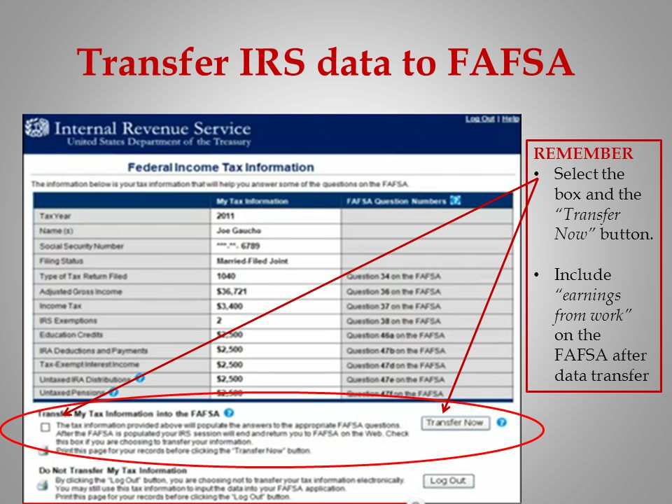 Transfer IRS data to FAFSA