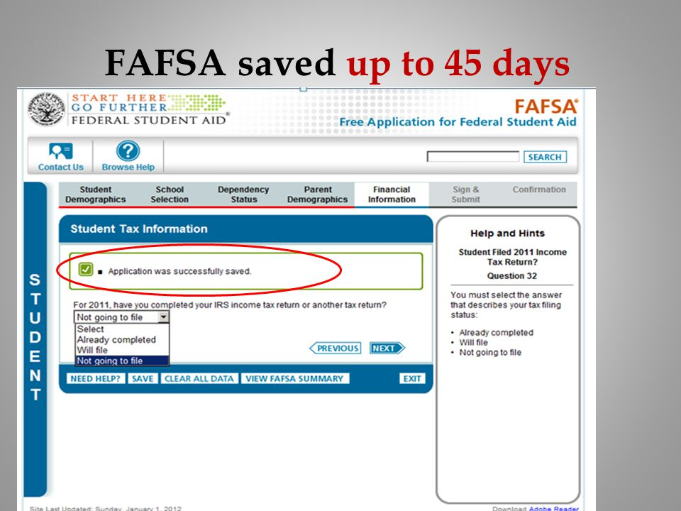 FAFSA saved up to 45 days