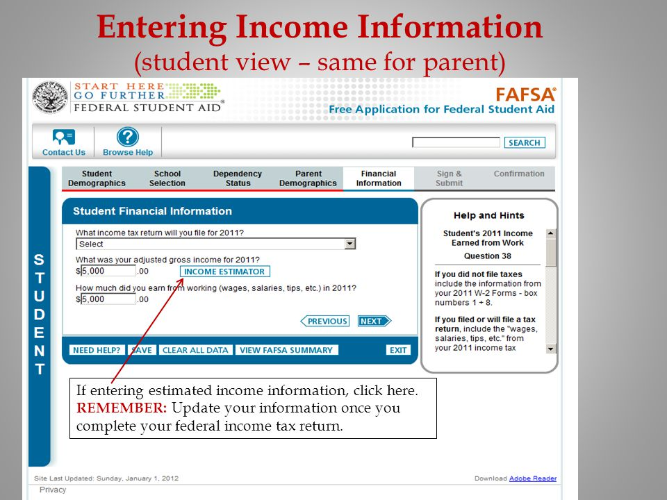 Entering Income Information (student view – same for parent)