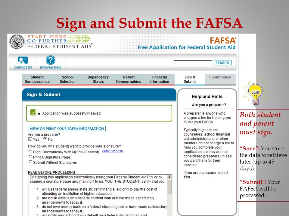 Sign and Submit the FAFSA