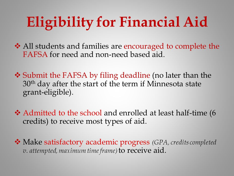 Eligibility for Financial Aid