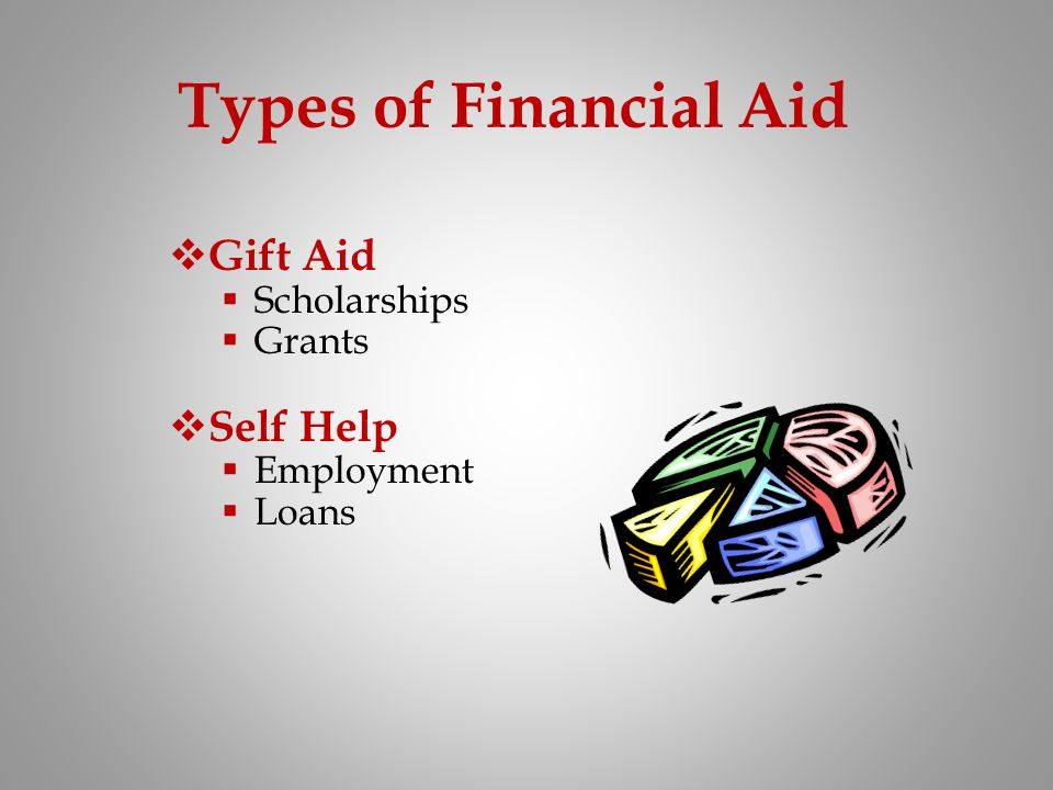 Types of Financial Aid Gift Aid Self Help Scholarships Grants