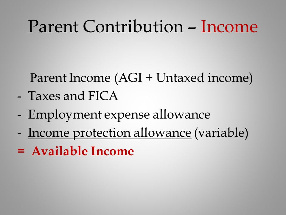 Parent Contribution – Income