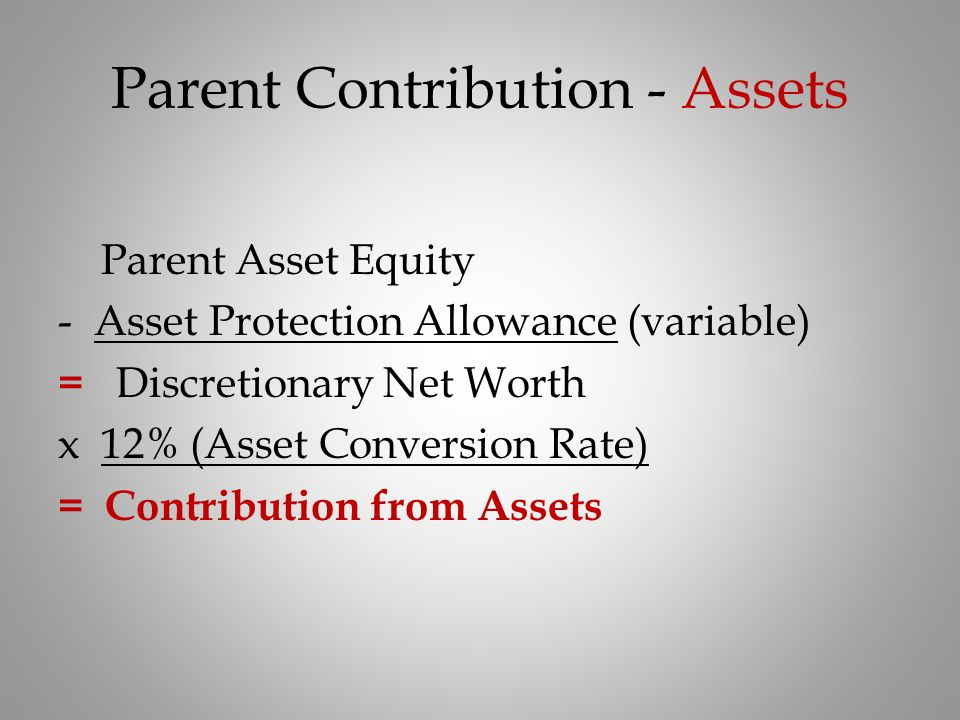Parent Contribution - Assets