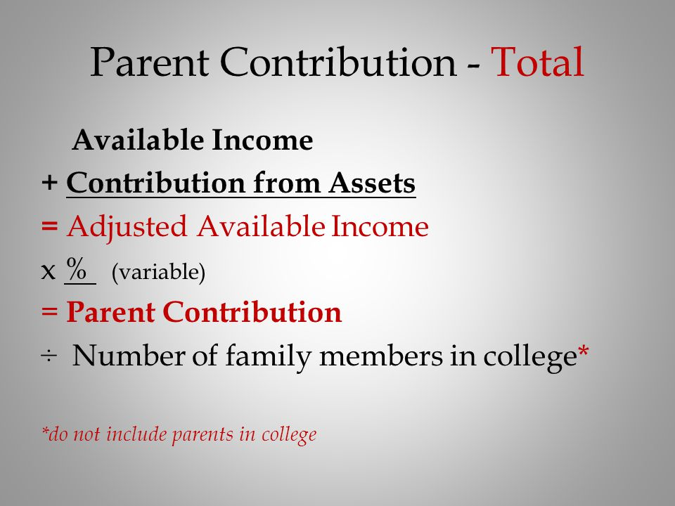 Parent Contribution - Total