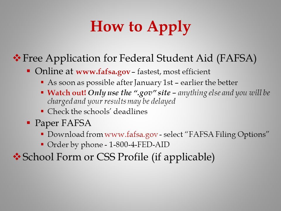 How to Apply Free Application for Federal Student Aid (FAFSA)