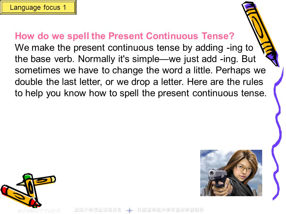 How do we spell the Present Continuous Tense