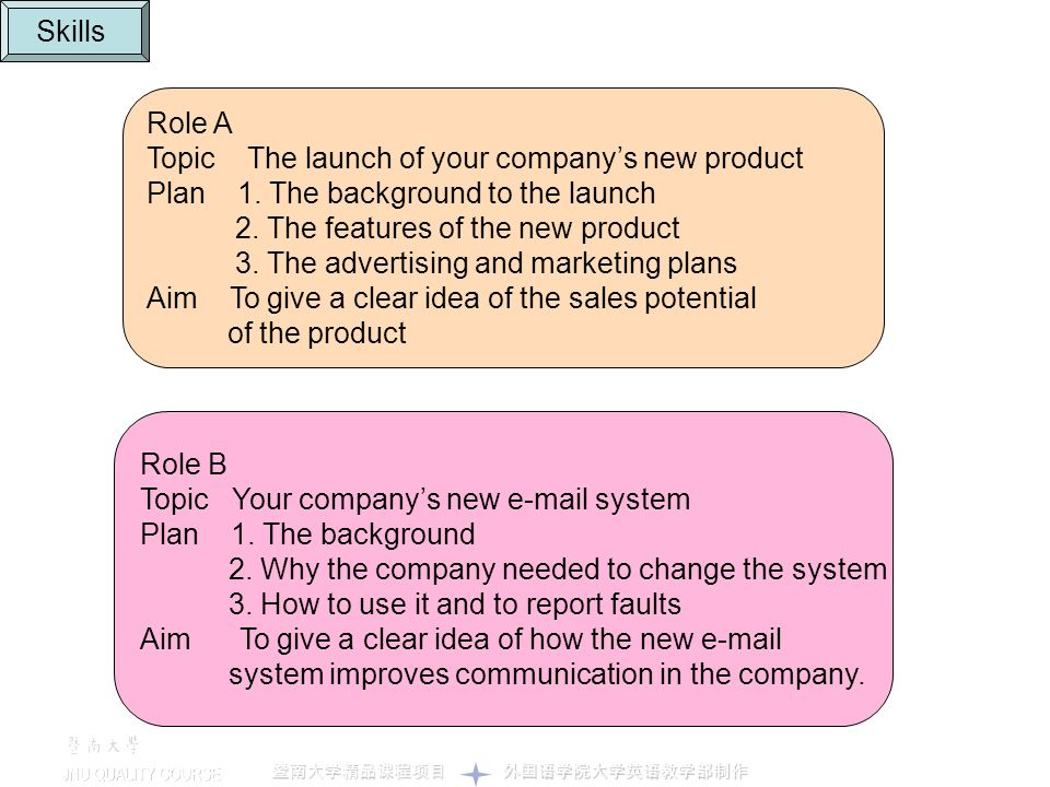 Skills Role A. Topic The launch of your company's new product. Plan 1. The background to the launch.