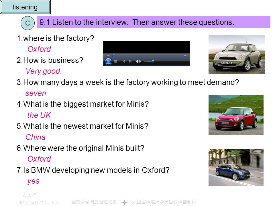 9.1 Listen to the interview. Then answer these questions.