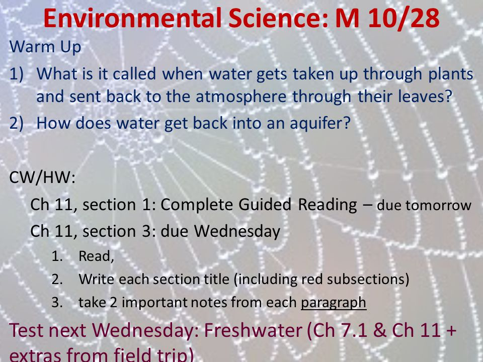 Environmental Science: M 10/28