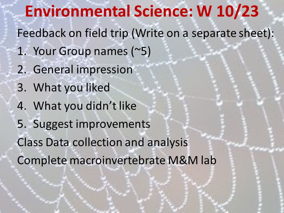 Environmental Science: W 10/23