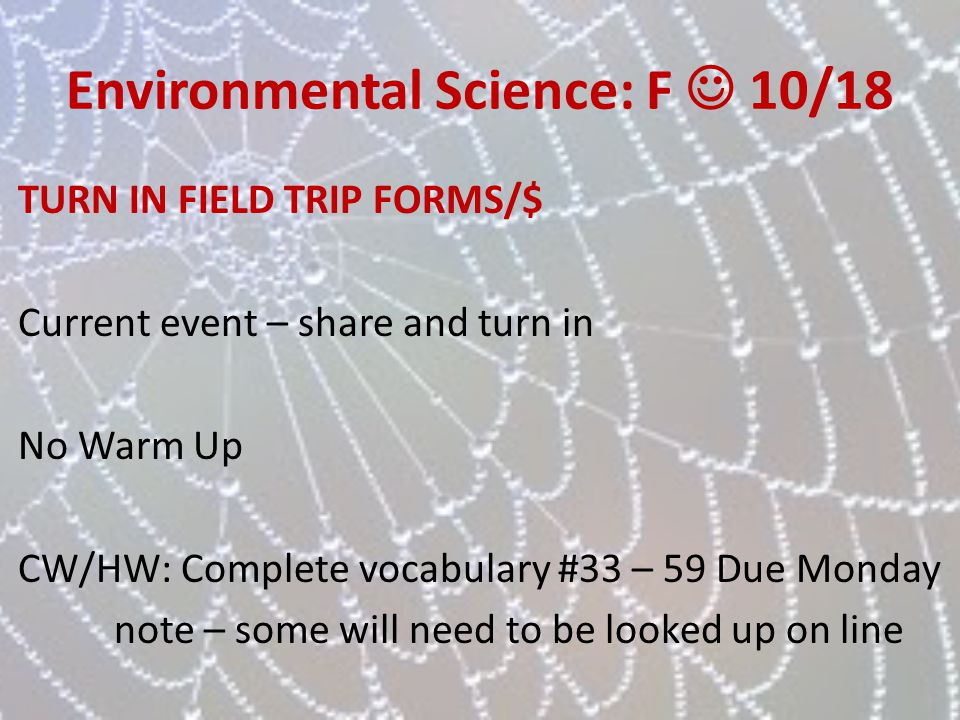 Environmental Science: F  10/18